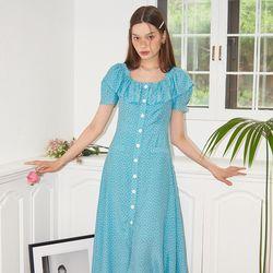 Ruffle Collar Dress_ Blue