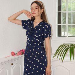 Midi Shirring Daisy Dress_ Navy
