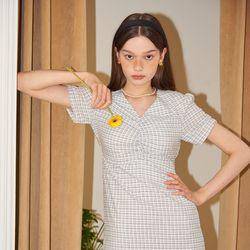 Midi Shirring Check Dress_ White