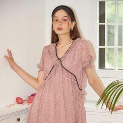 Short Sleeve Chiffon Shirring Dress_ Pink