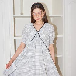Short Sleeve Shirring Dress_ White