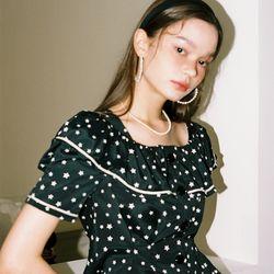 Short Sleeve Ruffle Collar Blouse_ Star