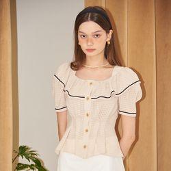 Short Sleeve Ruffle Collar Blouse_ Ivory