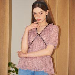 Chiffon Shirring Blouse_ Pink