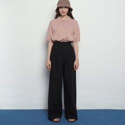 W15 bio linen banding pants black
