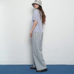 W15 bio linen banding pants blue