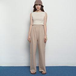 W15 bio linen banding pants beige