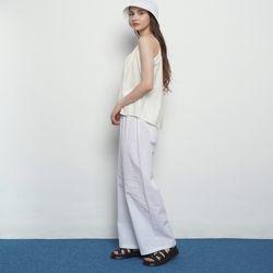 W15 bio linen banding pants white