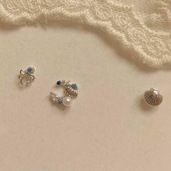 (봄밤달) 푸른바다 조가비 피어싱 (귀걸이침 변경가능)