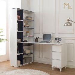 메이 1600 책상 높은책장 세트 H형책상 컴퓨터책상 책장책상 1인