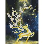 꽃이 피어난 사슴 (캔버스형) 보석십자수 30x40