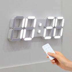 무아스 3D 빅플러스 화이트 LED 벽시계 무소음 벽걸이 디지털