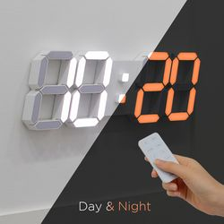 무아스 3D 빅플러스 듀얼 LED 벽시계 무소음 벽걸이 리모컨