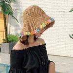 우제 여름 꽃무늬 포인트 밀짚 라탄모자