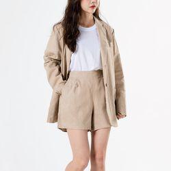 코튼 린넨 여성 여름 재킷 반바지 세트
