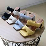 여성 패션 신발 데일리 사각 각진코 미들굽 슬리퍼