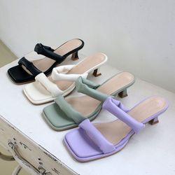 여성 패션 신발 데일리 각진코 발편한 밴드 슬리퍼