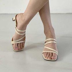 스트랩 슬리퍼 여자 굽있는 여름 신발 미들굽 데일리
