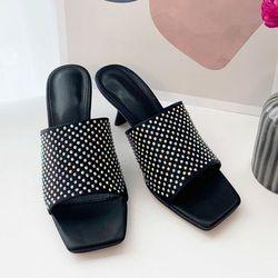 여성 패션 신발 각진코 큐빅밴드 미들굽 슬리퍼