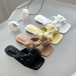 여성 패션 신발 각진코 왕리본 슬리퍼