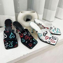 여성 패션 신발 각진 사각코 하이굽 슬리퍼