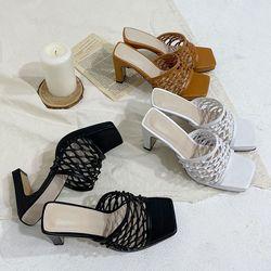여성 패션 신발 각진코 꼬임 라탄 하이굽 슬리퍼