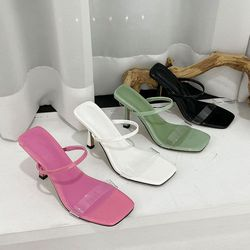 여성 패션 신발 투명밴드 미들굽 슬리퍼