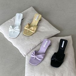 여성 패션 신발 리본 쪼리 미들굽 슬리퍼