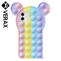 아이폰SE2 레인보우 곰돌이 팝잇 실리콘 케이스 P615