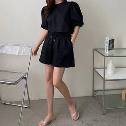 [Set] Linen Crop Puff Blouse   Shorts
