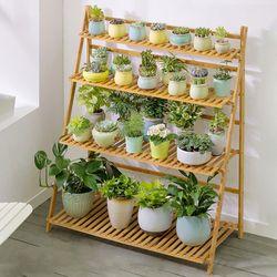 조립식 원목 4단 화분선반 식물 정리대 진열대