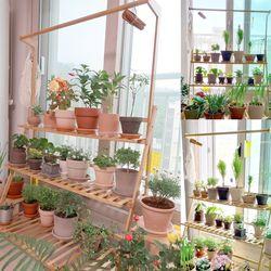 조립식 행잉겸용 원목 3단 화분선반 식물 정리대 진열대