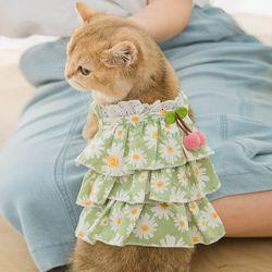 강아지 꽃무늬 체리원피스 캉캉 프릴 드레스