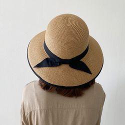 여성 밀짚모자 여름 리본 왕골 라피아햇