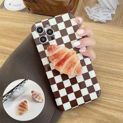 아이폰12 11 pro max xs 8 체크패턴 빵 그립톡 케이스
