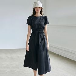 SHIRRING HALF DRESS [BLACK]