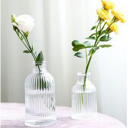 유리화병 인테리어 스트라이프미니 투명 원형 유리 꽃병 3 size