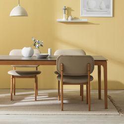포멀 애쉬 원목 12T 통세라믹 4인용 식탁세트 + 로미안 의자4