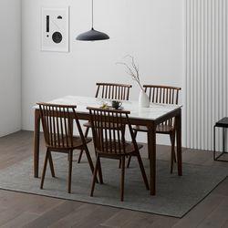 포멀 애쉬 원목 대리석 4인용 식탁세트 + 의자4