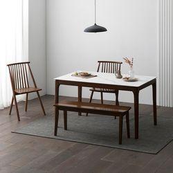 포멀 애쉬 원목 12T 통세라믹 4인용 식탁세트 + 의자2 벤치1
