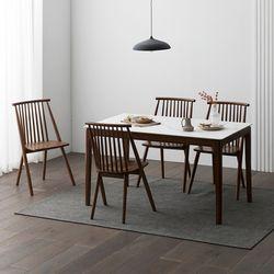 포멀 애쉬 원목 12T 통세라믹 4인용 식탁세트 + 의자4