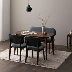 트니엘 애쉬 원목 4인용 식탁세트 + 로미안 의자2 벤치1