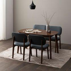 트니엘 애쉬 원목 4인용 식탁세트 + 로미안 의자4