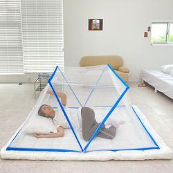 접이식 3단 침대 바닥 캠핑 텐트 모기장-싱글