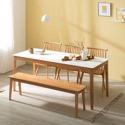 포멀 애쉬 원목 12T 통세라믹 6인용 식탁세트 + 의자3 벤치1