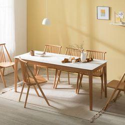 포멀 애쉬 원목 12T 통세라믹 6인용식탁세트 + 의자6