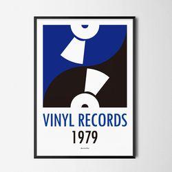 블루 바이닐 레코드 M 유니크 디자인 포스터 음악 A3(중형)