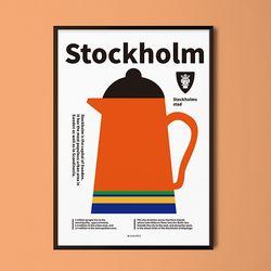 스톡홀룸 M 유니크 디자인 포스터 북유럽 인테리어 A3(중형)