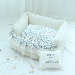 강아지 반려견 플라워 화이트 쿠션 침대 커버 분리 (M)