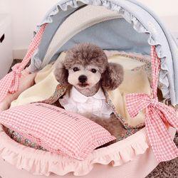 강아지 반려견 클래식 샤베트 요람 침대 럭셔리 양면 하우스